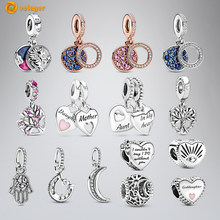 Volayer Spring 925 Sterling Silver Bead Magical Unicorn Disc Double Heart Split Dangle Charms fit Original Pandora Bracelets