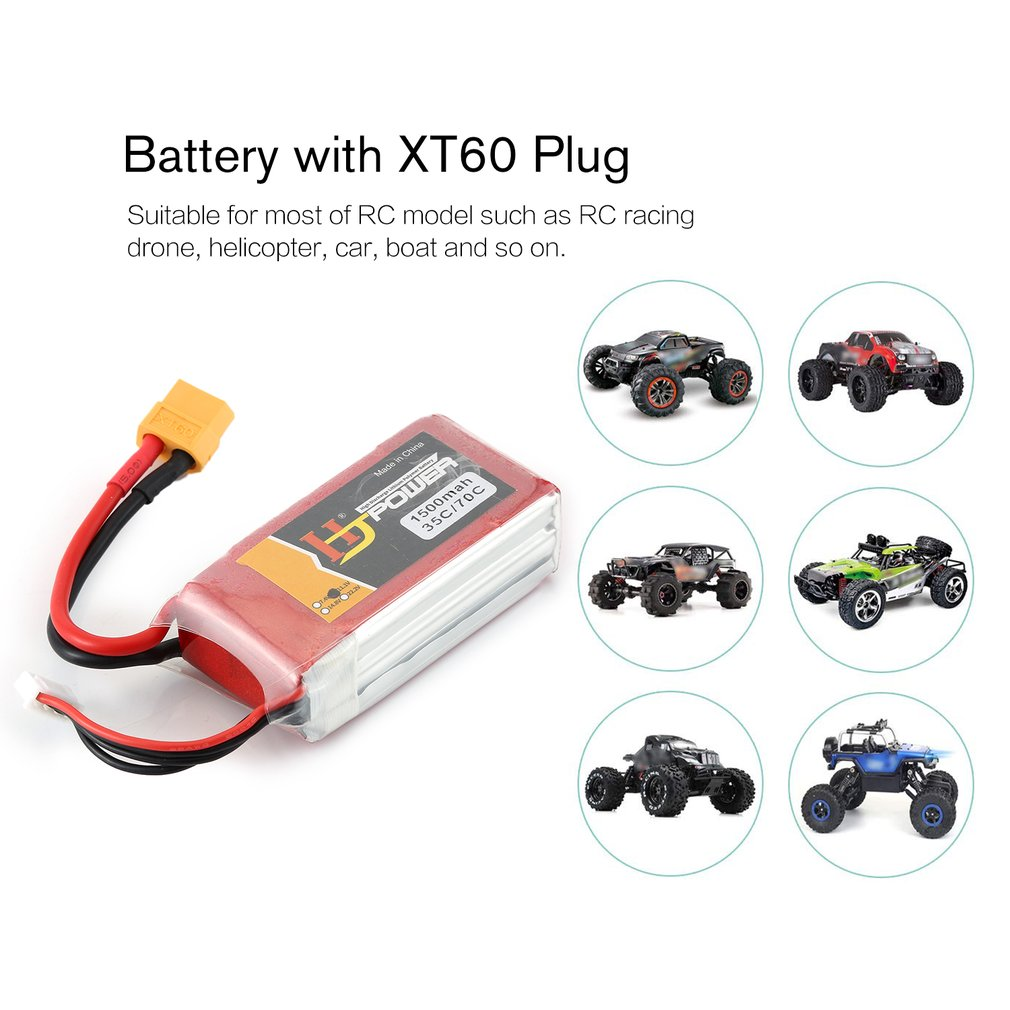 HJ 11.1V 1500MAH 35C 3S Lipo Battery XT60 Plug Rechargeable for RC Racing Drone Helicopter Car Boat Model image