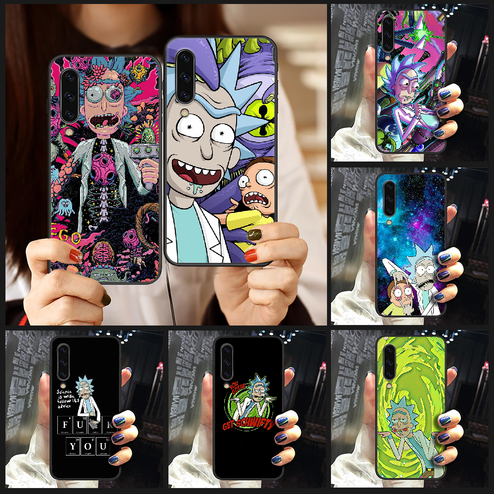 Rick or Morty ANIME Phone Case Cover For Samsung Galaxy A10 A20 A30 E A40 A50 A51 A70 A71 J 5 6 7 8 S black back trend