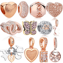 Bracelet Silver Jewelry Charms Spacer Crystal-Bead Rose-Gold 925-Sterling-Silver Fit-Original