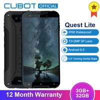 Cubot Quest Lite Android 9.0 3GB 32GB MT6761 Quad Core Sports Phone 5.0'' IP68 Waterproof Face ID 5P Lens Dual Cameras Celular