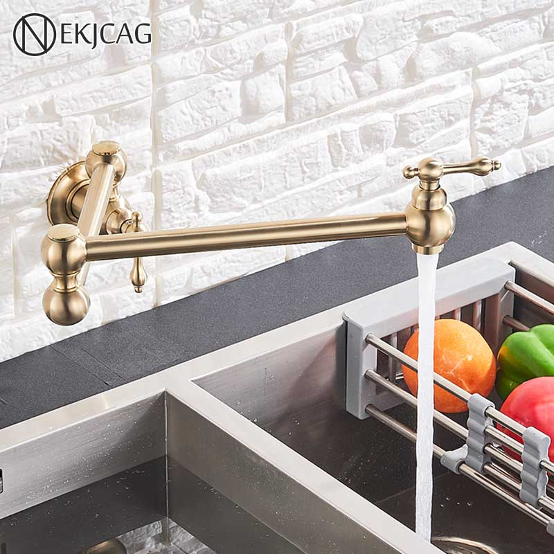Brushed gold Kitchen Faucet Wall-Mounted Fold Kitchen Faucet dual Handles Single Cold Single Hole Faucet