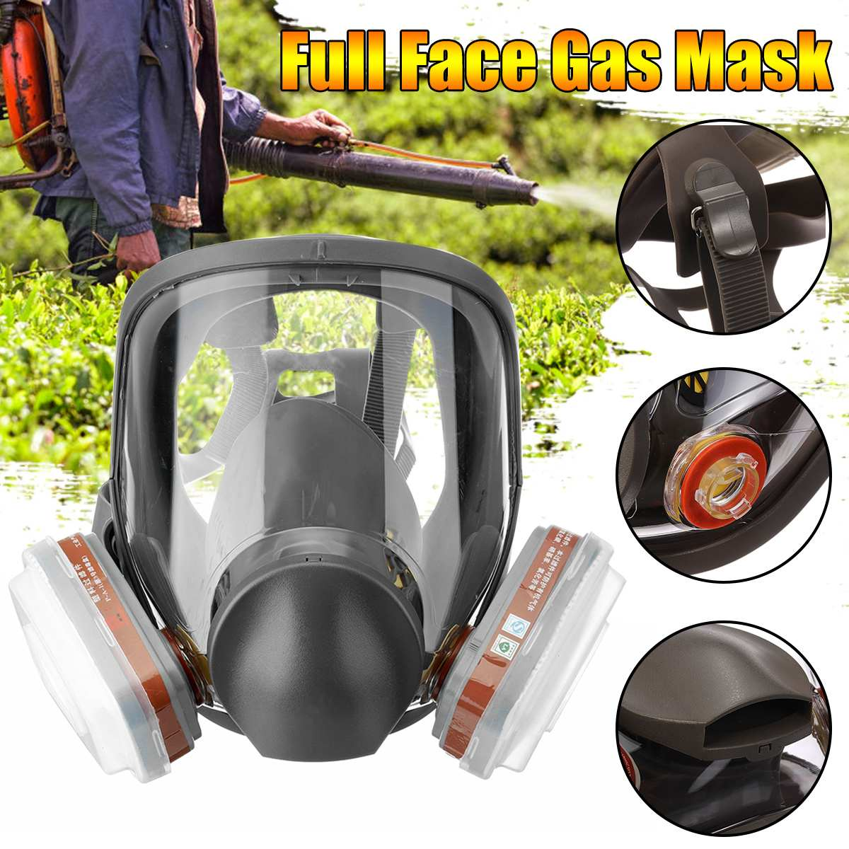 7 IN 1 Large View For 6800 Gas Mask Full Face Facepiece Painting Spraying Respirator For Gas Mask Respirator Filterg Spraying