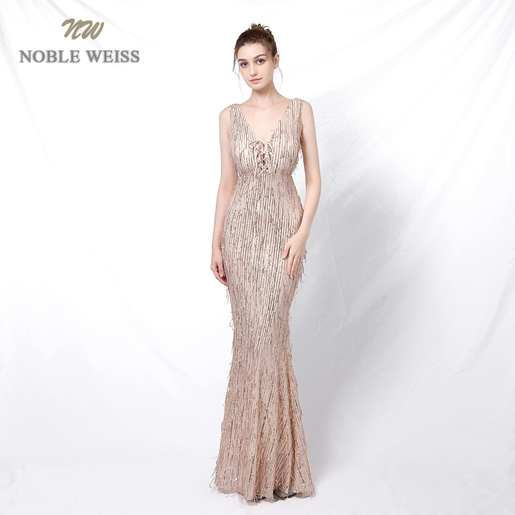 Evening Dress  V-Neck  Ankle-Length  Formal Dress Women Elegant  Sequin  Evening Dresses Long