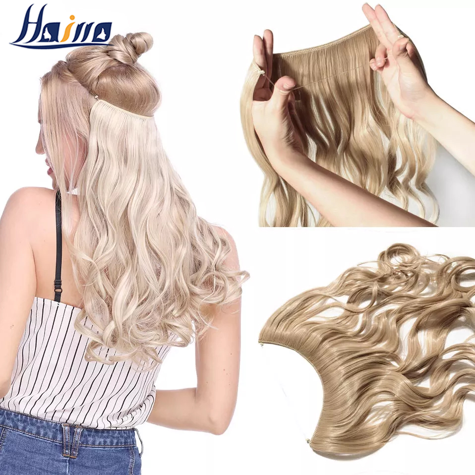 HAIRRO 20 inches Invisible Wire Synthetic No Clips In One Piece Hair Extension 60 Colors False Hair Hairpieces For Women