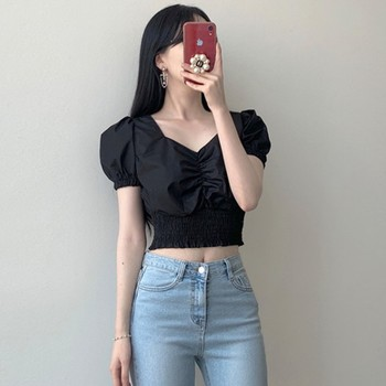 Summer V Neck Puff Sleeve T Shirts  Women Casual Solid Color Black T Shirt Fashion Slim Tops black fashion v neck cut out t shirt