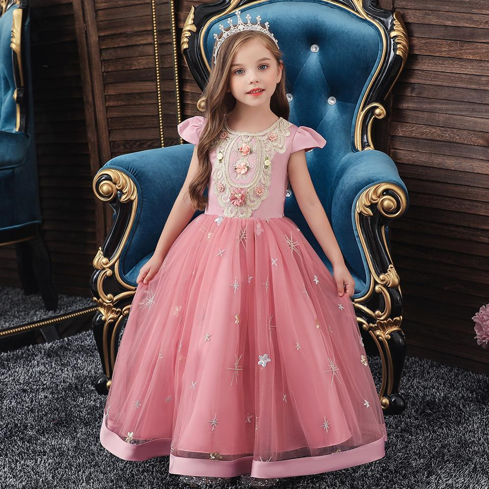 Princess Lace Bridesmaid Kids Flower Girls Wedding Costume Party Tutu Dress 2-7Y