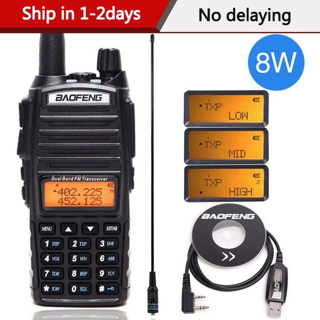 Baofeng UV 82 زائد 8 واط عالية الطاقة اسلكية تخاطب ثنائي النطاق VHF/UHF 10 كجم طويلة المدى UV82 اتجاهين هام CB راديو محمول الهواة