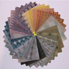 9*12cm japonês fio-tingido tecido artesanal diy retalhos 100% algodão tecido para costura boneca roupas colcha pano pacote 50 pçs/lote