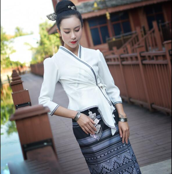 Thailand Dai Race Fashion Summer Air-permeable Slim Casual Dress Ethnic Dai Clothing Water-splashing Festival Jacket + Skirt