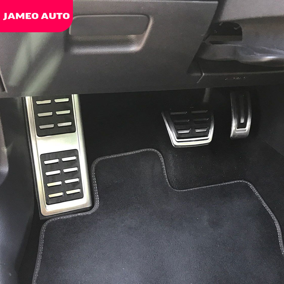 Jameo Auto de acero inoxidable, Pedal de freno de combustible para coche, reposapiés, cubierta de pedales para Volkswagen VW Skoda Kodiaq 2016 2017 2018 2019 2020