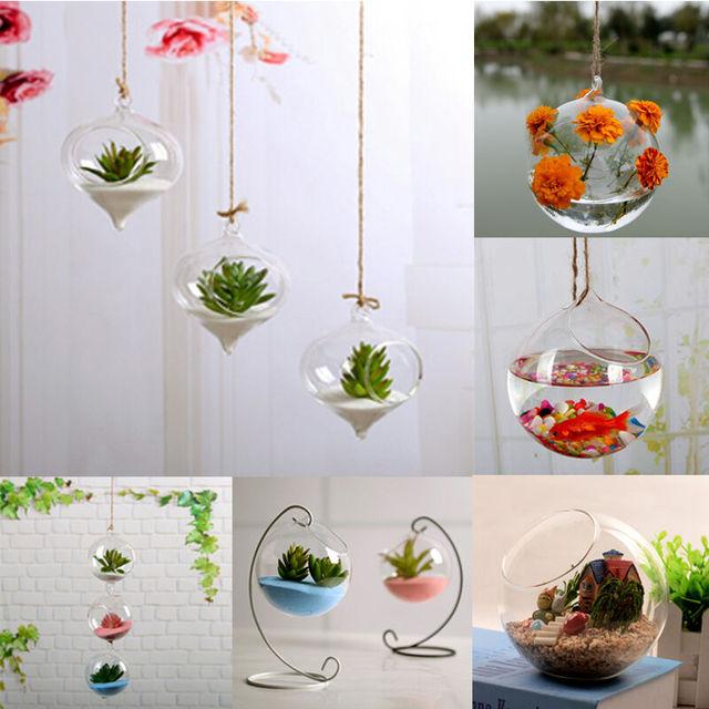 New Home Garden Clear Glass Flower Hanging Vase Planter Terrarium Container Fish Tank Terrarium Aquarium Container Home Decor 3
