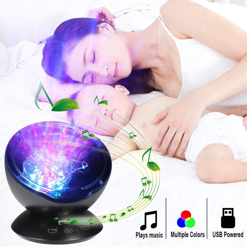 LED Night Light Help Sleep Ocean Wave Projector USB Remote Control Indoor Music Light TF Cards Music Player Speaker Night Light