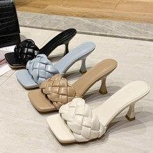 Sandales de luxe tressées pour femme, chaussures à enfiler, couleur bleue, 7cm de talon