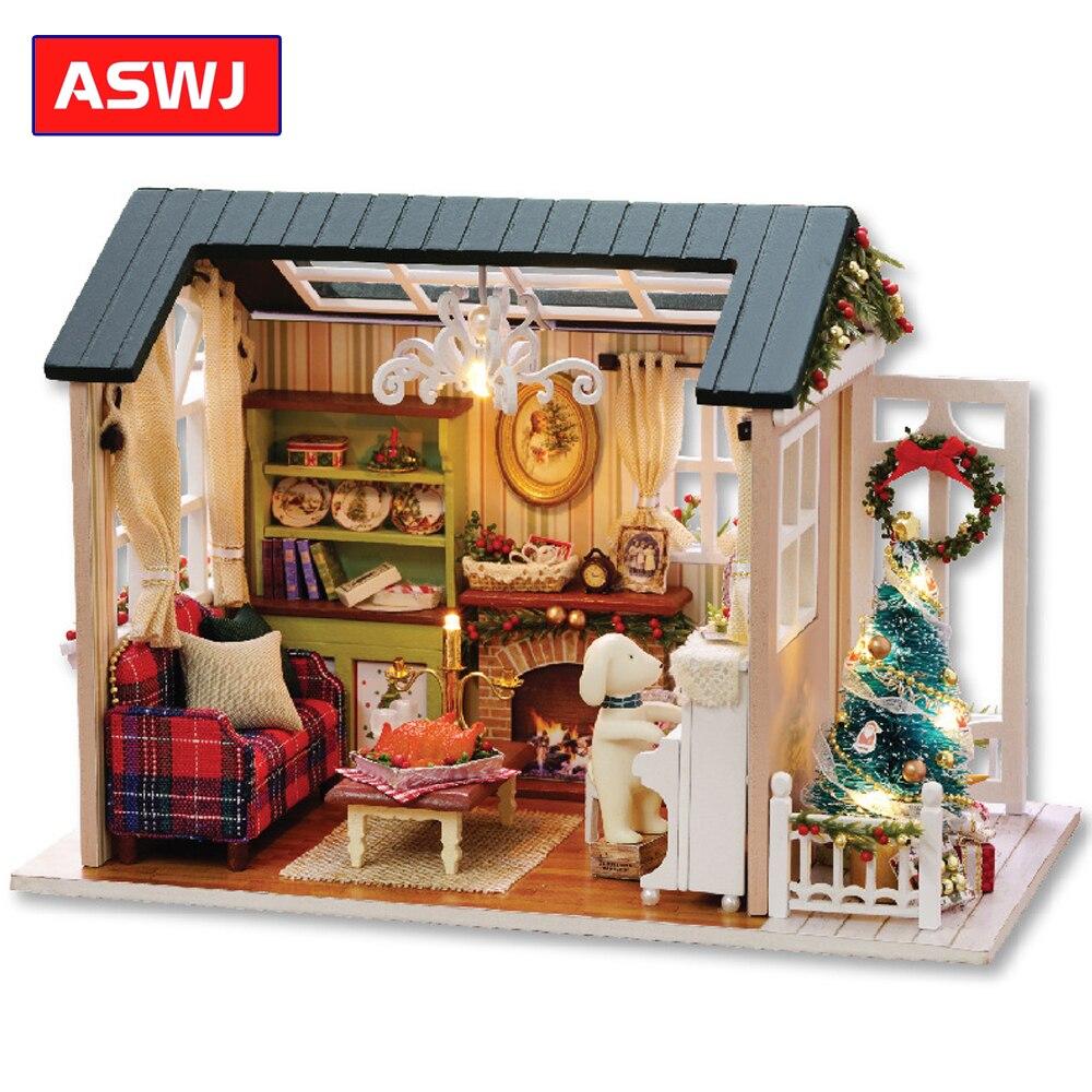 novo diy casa de bonecas em miniatura com moveis de madeira casa cutebee roombox brinquedos para