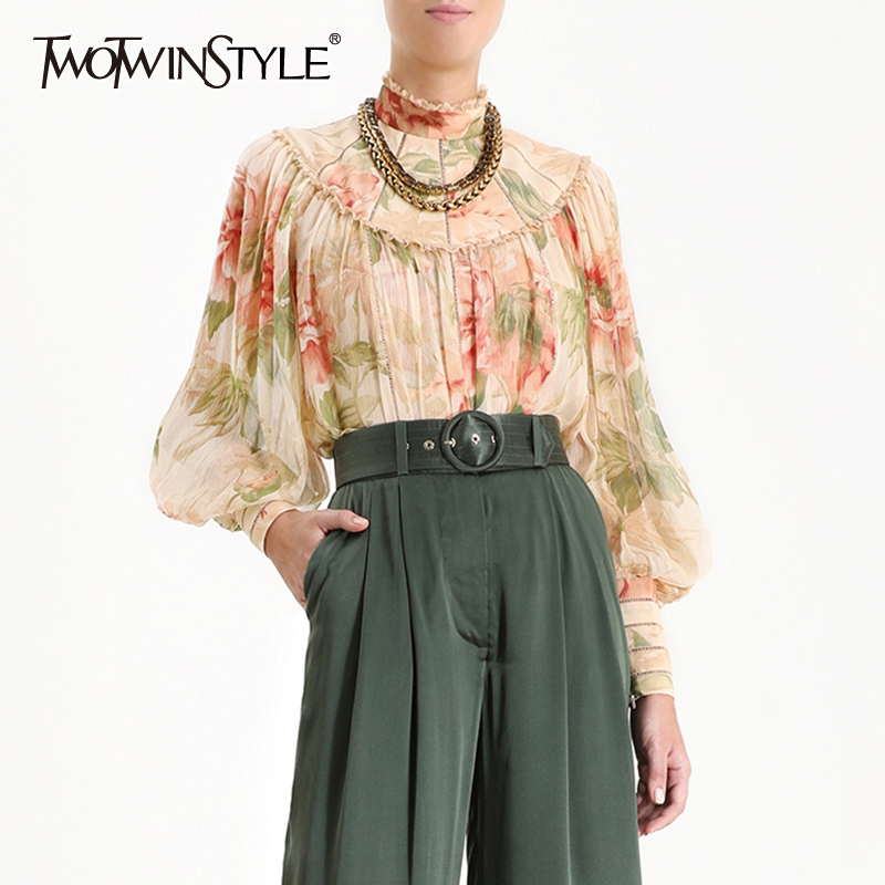 TWOTWINSTYLE Print Summer Women's Shirt Stand Collar Lantern Sleeve Lace Patchwork Vintage Female Blouse 2019 Fashion New