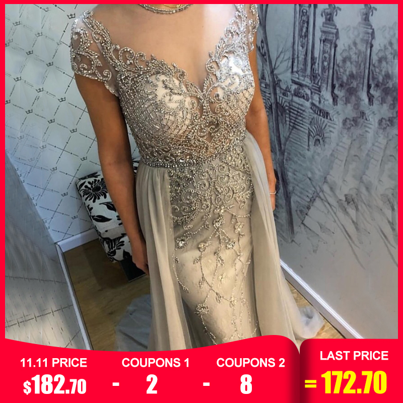 Dubai Crystal Short Sleeve Evening Dresses Design 2019 Luxury Mermaid Sexy Evening Gowns Serene Hill LA60960