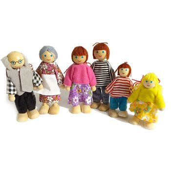 Wooden Furniture Miniature Set Doll Toys House Family Person Figures Pretend Play Dollhouse for Kids Child furniture toys miniature house cleaning tool doll house accessories for doll house pretend play toy things for dolls