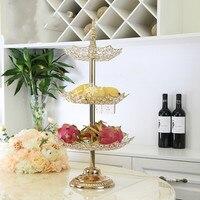 Golden crystal metal three tier fruit plate wedding art dessert table decoration