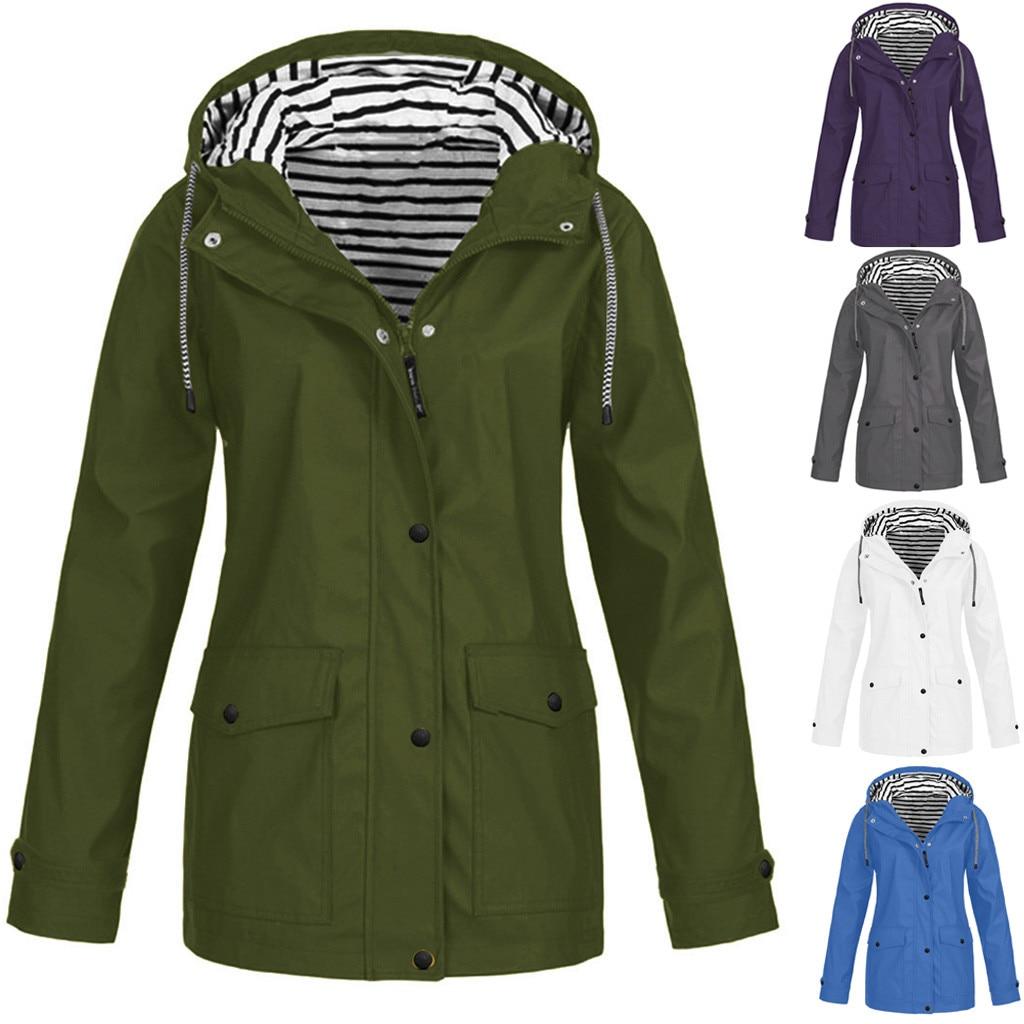 2020 Женская однотонная водонепроницаемая куртка, женский плащ с капюшоном, пальто для улицы, ветровка, верхняя одежда размера плюс, Женское пальто с карманами|Куртки|   | АлиЭкспресс
