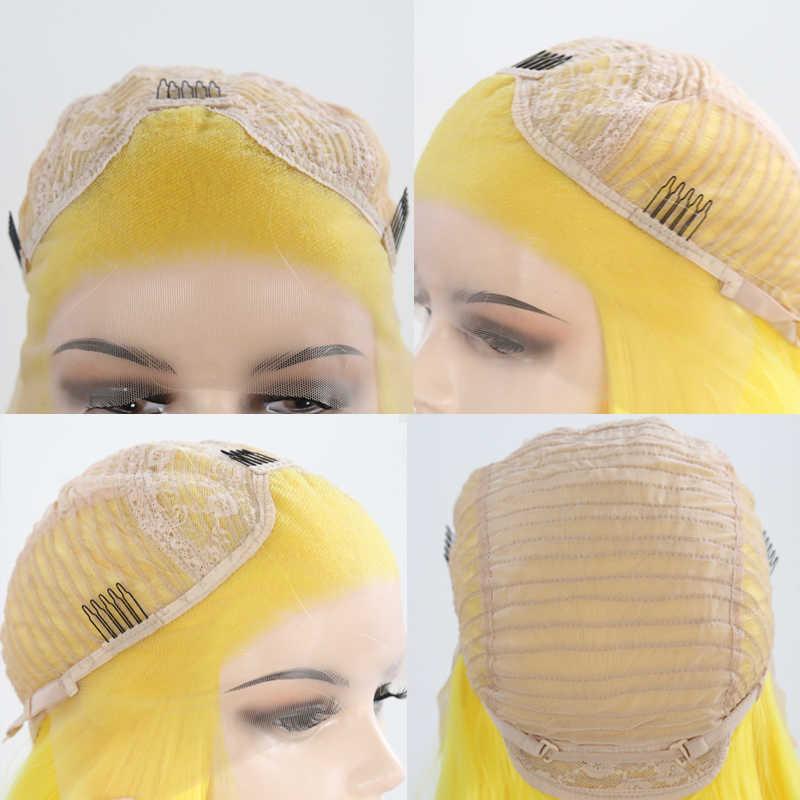 Karisma Kuning Wig Rambut Lurus dan Panjang Tahan Panas Serat Sintetis Lace Front Wig untuk Wanita Alami Rambut Cosplay Wig