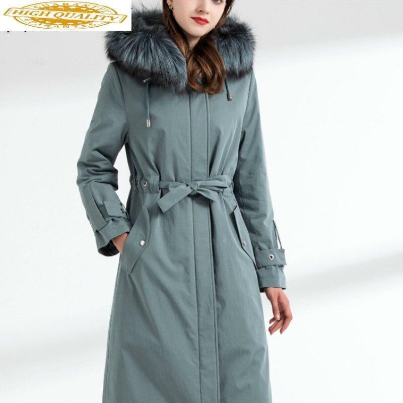 Real Fur Coat Women Rex Rabbit Fur Coat Raccoom Fur Collar Winter Coat Women Warm Parka Manteau Femme DHM206 YY1573