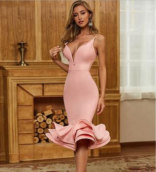 Hot Bodycon Bandage Dress 2020 Sexy V Neck Backless Ball Gown Pink Women Summer Dress Fashion Evening Party Dress Vestido