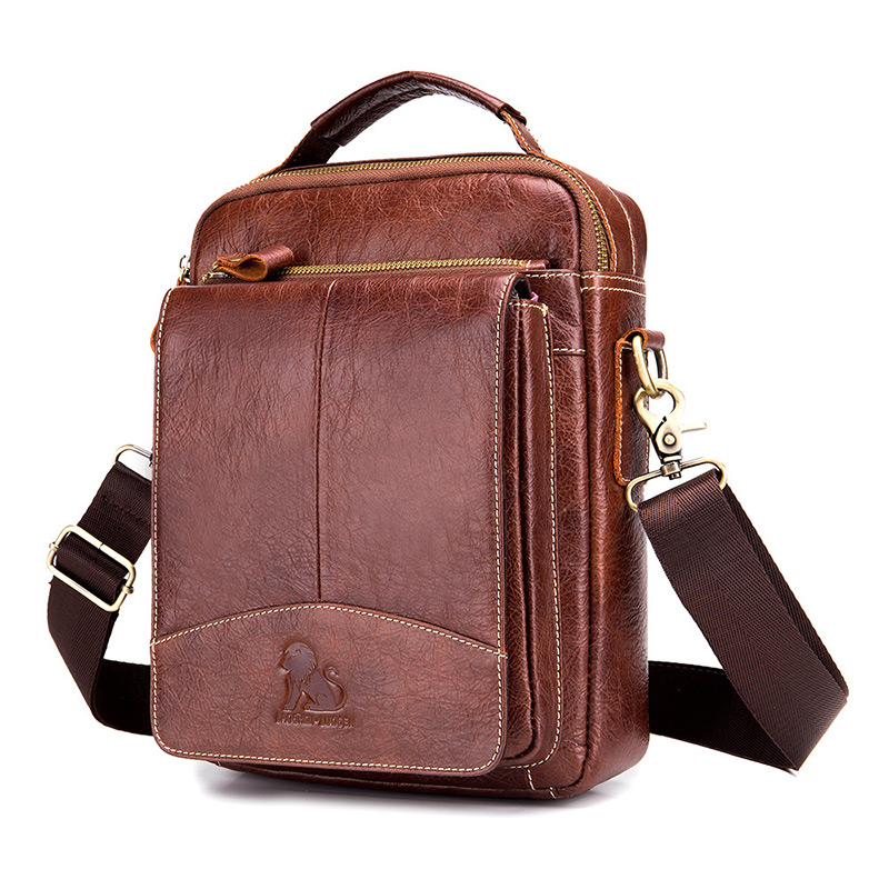 Men Genuine Cowhide Leather Shoulder Bag Men's Clutch Handbag Vintage Messenger Male Crossbody Bags Sling Tot Zipper New
