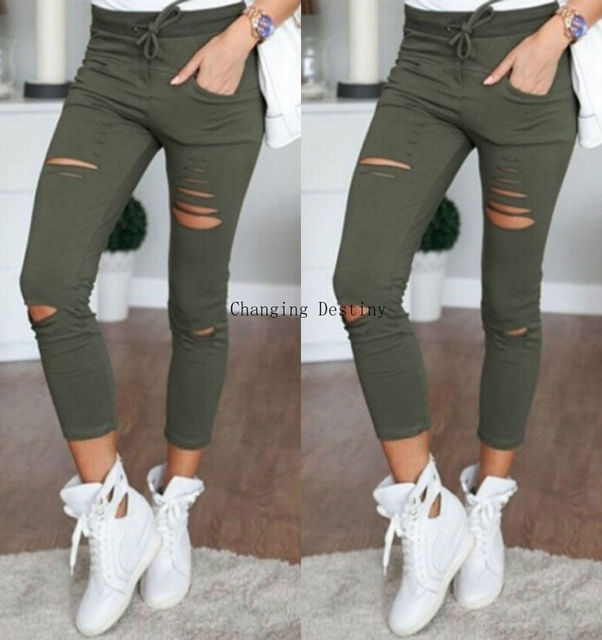 S-5XL New Hole Jeans Leggings  Europe and The United States Women Casual Casual Pants Female Cotton Wild Nine Pants Jeans Woman