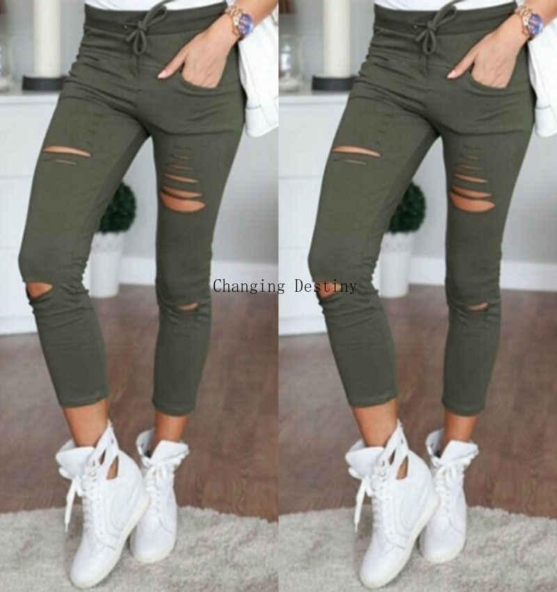 S-5XL nowe dżinsy z dziurami legginsy europa i stany zjednoczone kobiety dorywczo spodnie kobiece bawełniane dzikie dziewięć spodni dżinsy kobieta