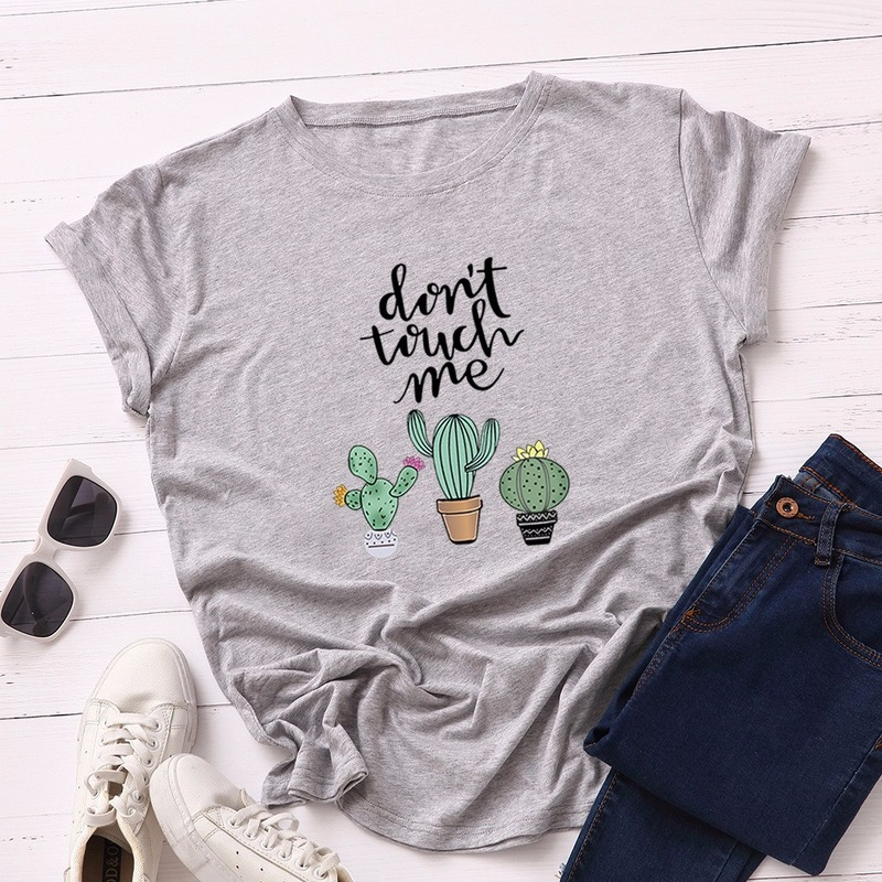 JCGO Summer Cotton Women T Shirt 5XL Plus Size Cactus Don't Touch Me Short Sleeve Woman Tees Top Casual O-Neck Female tShirts 3