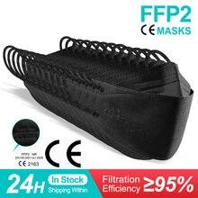 Máscara de peixe ce ffp2mask preto ffp2 mascarillas homóloga fpp2 respirador reutilizável adultos 4 camadas filtro kn95 ffpp2