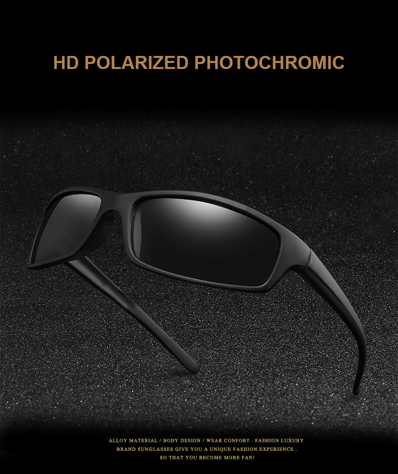 AIELBRO Men's Glasses Photochromic Cycling Sunglasses Black Frame Polarized Men's Glasses Outdoor 18g Lightweight For Bicycle