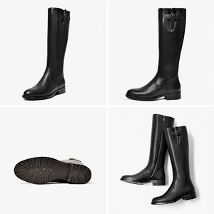 Image 5 - BeauToday Long Boots Women Cow Leather Round Toe Zipper Closure Buckle Knee High Boots Winter Fashion Lady Shoes Handmade 01215