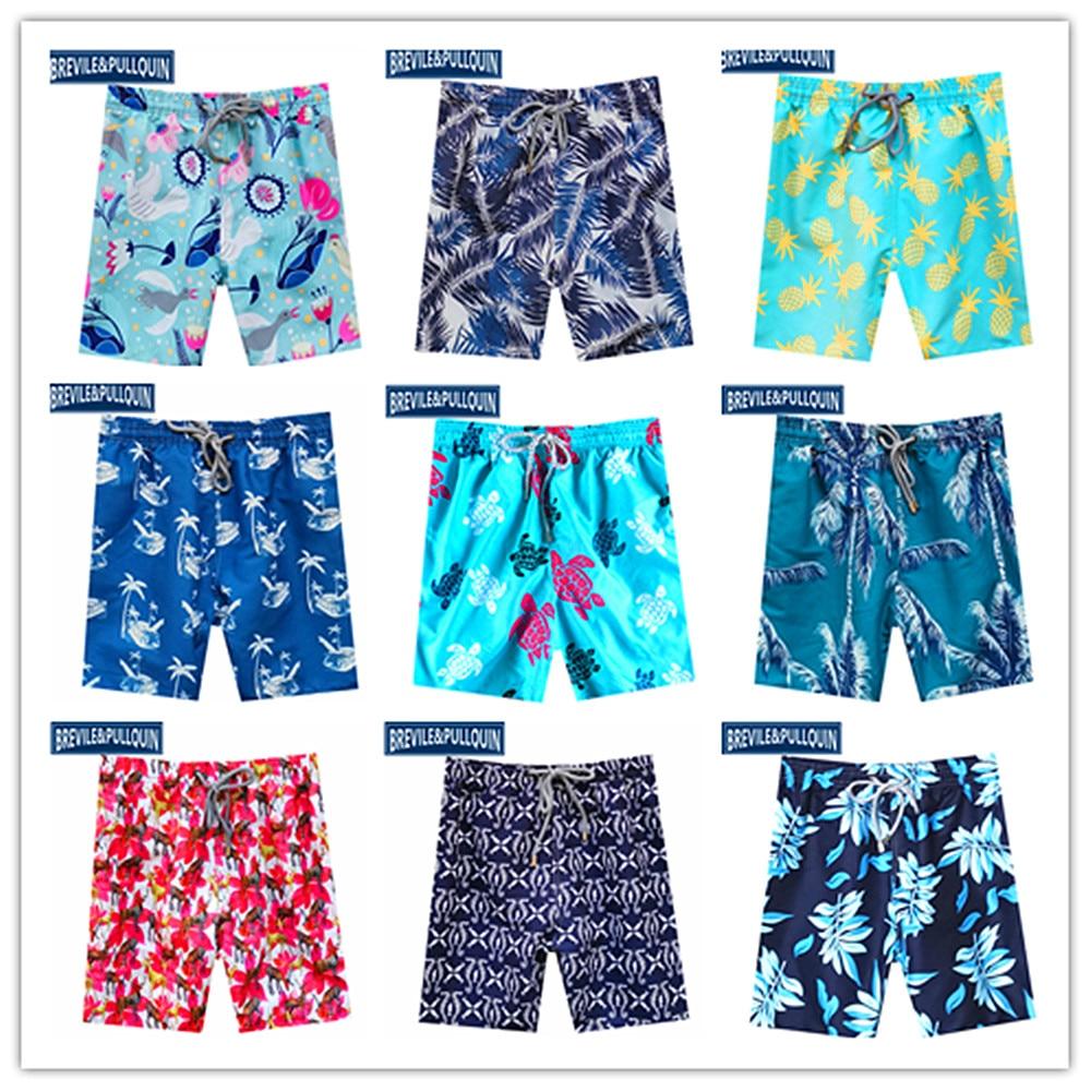 Online Stock 2020 Bermuda Brand Brevile Pullquin Mens Beach Swimtrunks Male Turtles Boardshorts Man Elk Pineapple Birds Swimwear