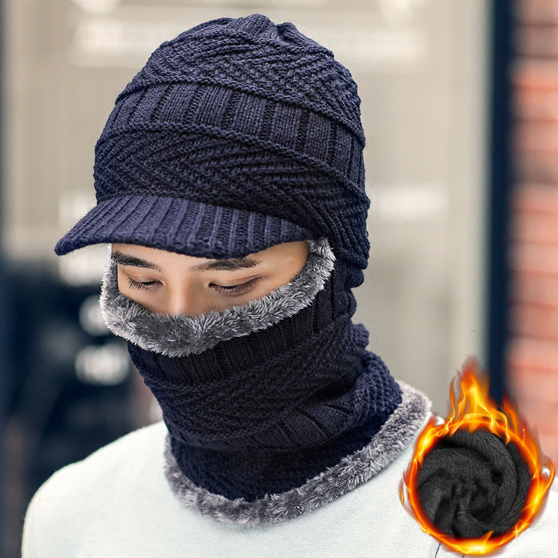 H76fd9bb8524e42e384bc8d36f43cea3fQ - new winter fashion wool hat warm knit hat outdoor men and women cold protection cap