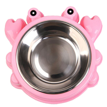 S/L Pet Feeders Food Bowl Plastic Stainless Steel Dog Bowl Cute Crab Elephant Shape Pet Feeders Safety Cat Dog Food Bowl stainless steel dog bowl silver size l 1000ml