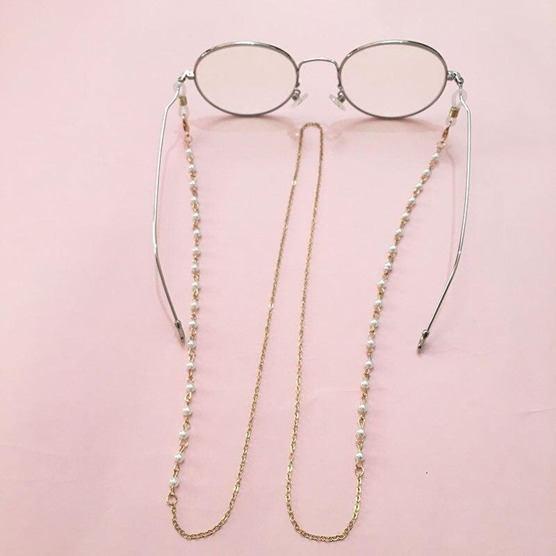 Fashion White Pearl Fine Line Glasses Chain Beaded Sunglass Reading Eyeglasses Chain Cord Holder Rope For Men Women Couples