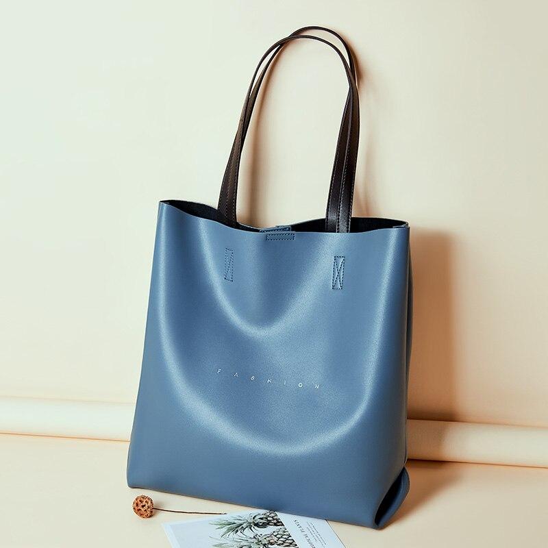 Fashion Brand Genuine Leather Bags Women Large Capacity Cowhide Skin Handbags Big Ladies Bucket Blue Hand Bag Female Tote Bags