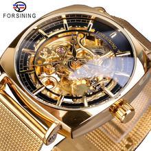Forsining Golden Square Men's Mechanical Watch Ultra Thin Analog Royal Skeleton Stainless Steel Mesh Strap Dress Automatic Clock все цены
