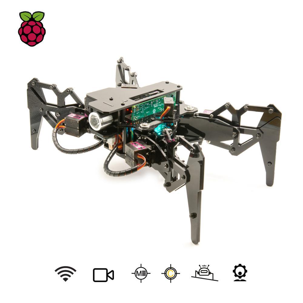 Adeept DarkPaw الكترونية رباعي الأرجل العنكبوت روبوت كيت التوت بي 4/3 نموذج B +/B/2B ، الجذعية الزحف روبوت ، OpenCV تتبع ،