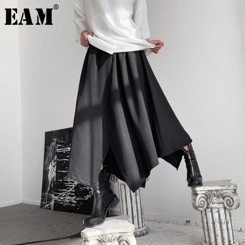 [EAM] High Elastic Waist Black Asymmetrical Long Temperament Half-body Skirt Women Fashion Tide New Spring Autumn 2020 19A-a535