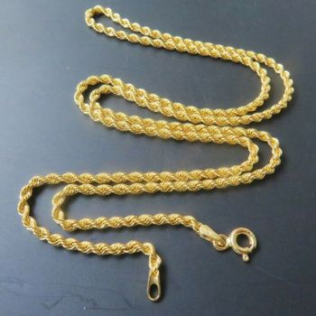 Pure Au750 18k Yellow Gold Necklace Women Men Luck Rope Chain Necklace 2mmW 1