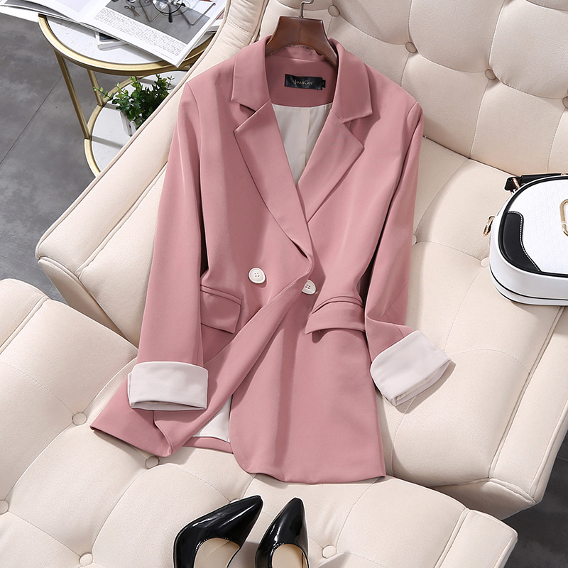 Vintage Double Breasted Office Ladies Pink Blazer Long Sleeve Loose Oversize Suit Coat Jacket Women Blazers Female Plus Size 5XL