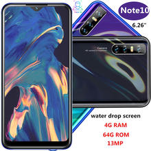Note10 Smartphones Water Drop Screen 6.26 Inch 4G Ram 64G Rom Quad Core 13mp Gezicht Id Unlocked Android mobiele Telefoons Celulares(China)