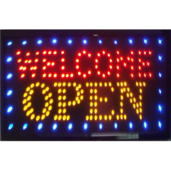 Welcome Open Led Neon Signs Blue Edge LED Neon Light Open Welcome Sign With Animation Busines of LED Welcome Open фото