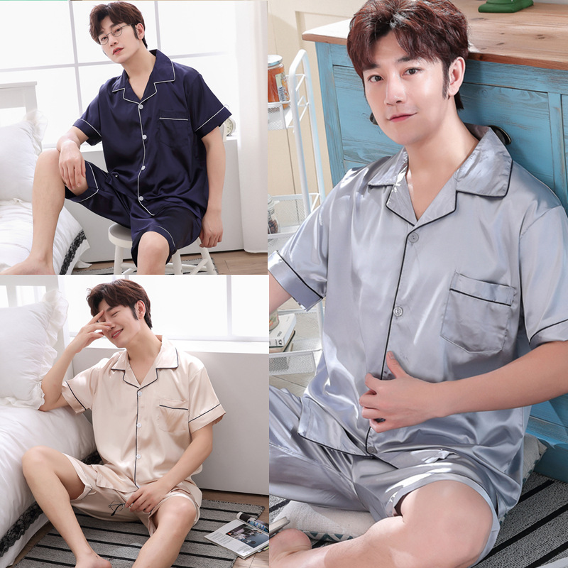 Pajamas Men's Summer Short-sleeved Thin Men Korean-style Summer Viscose Large Size Casual Silk Set Tracksuit 426