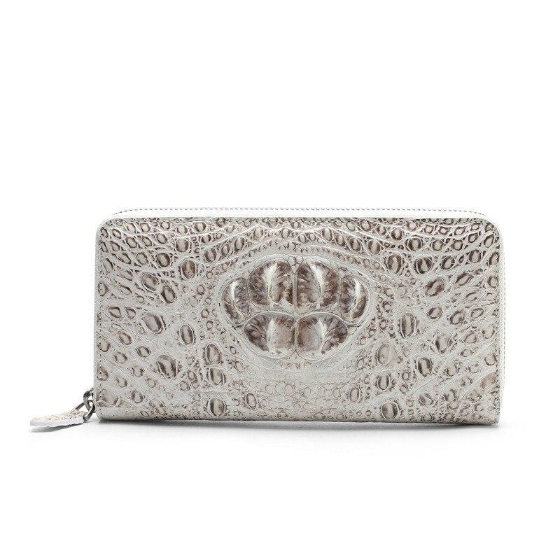 Cartera bolso de mano de cocodrilo para mujer, cartera femenina de piel de cocodrilo de un solo tirón, longitud media, color blanco del Himalaya, alta calidad