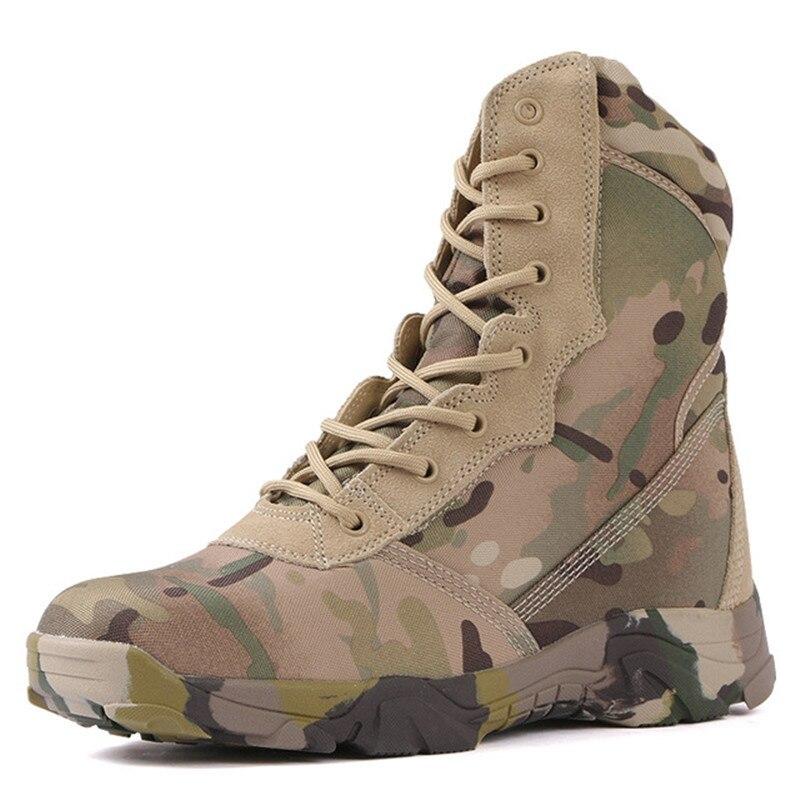 2020 männer Reise Military Camouflage Wandern Stiefel Aus Echtem Leder Delta Kampf Stiefel Angriff Taktische Stiefel Camo Wüste Stiefel