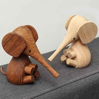 Nordic Wood Crafts Design Decoration Wood Wood Export Proboscis Elephant Puppet Small Wooden Toy Gift|Figurines & Miniatures| |  -